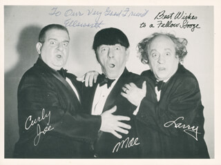 THREE STOOGES (MOE HOWARD) - INSCRIBED PHOTOGRAPH UNSIGNED