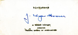 J. EDGAR HOOVER - PRINTED CARD SIGNED IN INK  - HFSID 2797