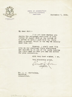 GOVERNOR EVERETT LAKE - TYPED LETTER SIGNED 09/07/1922