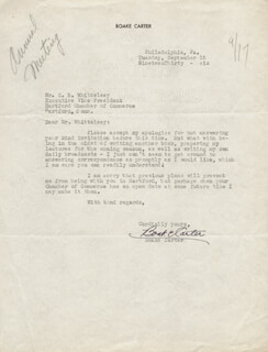 Autographs: BOAKE (HARRY THOMAS HENRY) CARTER - TYPED LETTER SIGNED 09/15/1936