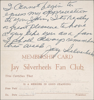 JAY TONTO SILVERHEELS - AUTOGRAPH NOTE SIGNED