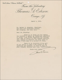 THOMAS A. EDISON - TYPED LETTER SIGNED 03/01/1922