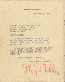 Autographs: FLOYD P. GIBBONS - TYPED LETTER SIGNED 10/25/1932