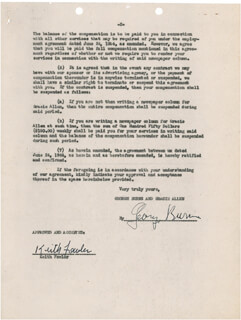 GEORGE BURNS - DOCUMENT SIGNED 02/06/1948