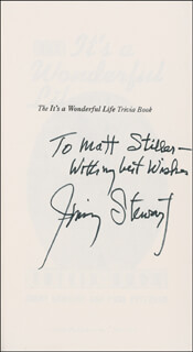 JAMES JIMMY STEWART - INSCRIBED BOOK SIGNED