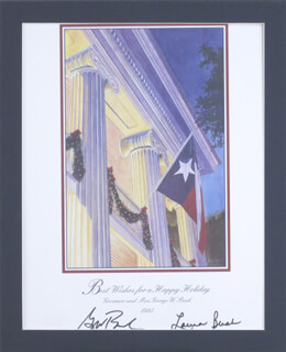Autographs: PRESIDENT GEORGE W. BUSH - PRINTED ART SIGNED 1995 CO-SIGNED BY: FIRST LADY LAURA BUSH