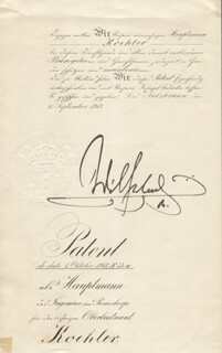 Autographs: KAISER WILHELM II (GERMANY) - MILITARY APPOINTMENT SIGNED 09/01/1913