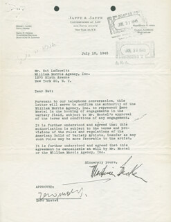 ZERO MOSTEL - DOCUMENT SIGNED 07/18/1945
