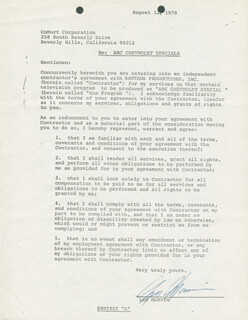 LEE MARVIN - DOCUMENT SIGNED 08/12/1970
