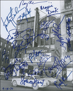 FILLMORE EAST - AUTOGRAPHED SIGNED PHOTOGRAPH CO-SIGNED BY: THE EAGLES (RANDY MEISNER), LES PAUL, JEFFERSON AIRPLANE (MARTY BALIN), JOHN SEBASTIAN, SPENCER DAVIS GROUP (SPENCER DAVIS), BLUE CHEER (DICKIE PETERSON), J. GEILS BAND (RICHARD MAGIC DICK SALWITZ), GARY DUNCAN, RICHIE FURAY, DAVID LAFLAMME, BUDDY CAGE, TOM CONSTANTEN, STEPPENWOLF (JOHN KAY), COUNTRY JOE & THE FISH (JOE McDONALD), RICK DERRINGER, BONNIE BRAMLETT, POCO (PAUL COTTON), BILLY COX
