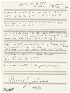 NORMAN GREENBAUM - AUTOGRAPH MANUSCRIPT SIGNED 09/25/2000