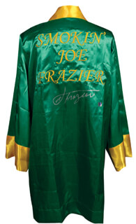 JOE SMOKIN JOE FRAZIER - BOXING ROBE SIGNED