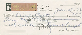 SAMMY BAUGH - AUTOGRAPHED SIGNED CHECK 01/25/1972  - HFSID 279775