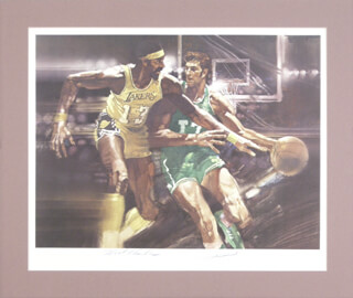 Autographs: WILT THE STILT CHAMBERLAIN - PRINTED ART SIGNED CO-SIGNED BY: JOHN HAVLICEK