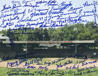 Autographs: NEGRO BASEBALL LEAGUE - PHOTOGRAPH SIGNED CO-SIGNED BY: BOB WIGGINS, JOHN MULE MILES, FRANK WILLIAMS, MAMIE PEANUT JOHNSON, JOE B. SCOTT, HENRY BROWN, BENNIE GRIGGS, FRANK EVANS, GEORGE GROVE, ART SUPERMAN PENNINGTON, 'BUTCH' MC COOL, MARVIN PRICE, DON JOHNSON