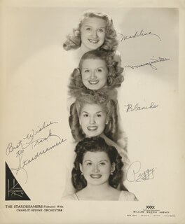 THE STARDREAMERS - AUTOGRAPHED INSCRIBED PHOTOGRAPH CO-SIGNED BY: THE STARDREAMERS (MADELINE ), THE STARDREAMERS (MARGUIRETTE ), THE STARDREAMERS (BLANCHE ), THE STARDREAMERS (PEGGY )