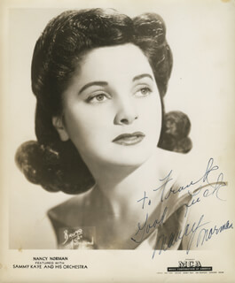 NANCY NORMAN - AUTOGRAPHED INSCRIBED PHOTOGRAPH