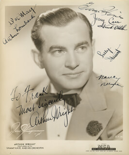 Autographs: SAMMY KAYE ORCHESTRA - INSCRIBED PHOTOGRAPH SIGNED CO-SIGNED BY: NANCY NORMAN, ARTHUR WRIGHT, ARTHUR LOMBARDI, JERRY CARR, SALLY STUART, BILLY WILLIAMS, HOWARD WORKMAN, DON WALLMARK, MARTY OSCARD, CHUBBY SILVER, LARRY LINDENBERG, LENNY ROGERS, BOB NEGRON, PHIL MASI