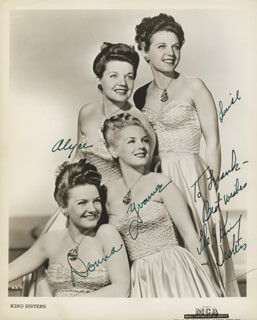 THE KING SISTERS - AUTOGRAPHED INSCRIBED PHOTOGRAPH CO-SIGNED BY: THE KING SISTERS (ALYCE KING), THE KING SISTERS (DONNA KING), THE KING SISTERS (LUISE KING), THE KING SISTERS (YVONNE KING)