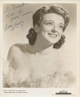 BETTY BRADLEY - AUTOGRAPHED INSCRIBED PHOTOGRAPH