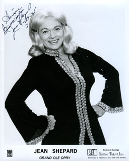 JEAN SHEPARD - INSCRIBED PRINTED PHOTOGRAPH SIGNED IN INK 09/29/1974