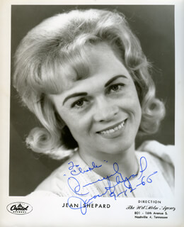 JEAN SHEPARD - INSCRIBED PRINTED PHOTOGRAPH SIGNED IN INK 09/12/1966