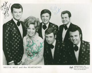 DOTTIE WEST AND THE HEARTACHES - AUTOGRAPHED SIGNED PHOTOGRAPH CO-SIGNED BY: DOTTIE WEST, JIMMIE JOHNSON, BILL WEST