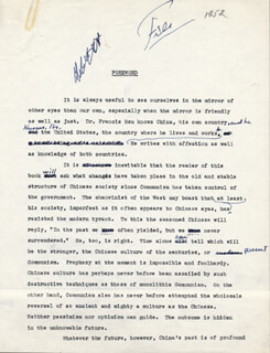 PEARL S. BUCK - TYPED MANUSCRIPT UNSIGNED 1952