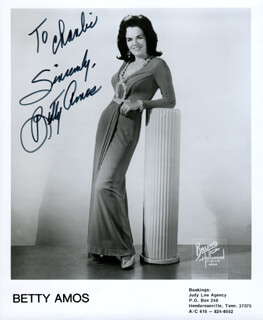 BETTY AMOS - AUTOGRAPHED INSCRIBED PHOTOGRAPH