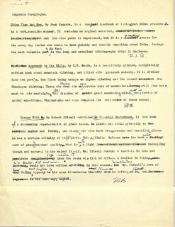 PEARL S. BUCK - TYPED MANUSCRIPT SIGNED 1940