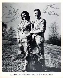 CARL BUTLER - AUTOGRAPHED SIGNED PHOTOGRAPH CO-SIGNED BY: PEARL BUTLER