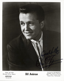 BILL WHISPERING BILL ANDERSON - AUTOGRAPHED SIGNED PHOTOGRAPH