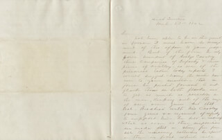 BRIGADIER GENERAL JAMES SHIELDS - MANUSCRIPT DOCUMENT UNSIGNED 03/23/1862