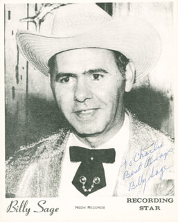 BILLY SAGE - AUTOGRAPHED INSCRIBED PHOTOGRAPH