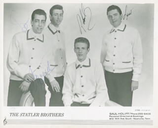 THE STATLER BROTHERS - AUTOGRAPHED SIGNED PHOTOGRAPH CO-SIGNED BY: THE STATLER BROTHERS (HAROLD REID), THE STATLER BROTHERS (PHIL BALSEY), THE STATLER BROTHERS (DON REID), THE STATLER BROTHERS (LEW DE WITT)
