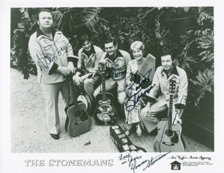 THE STONEMANS - AUTOGRAPHED SIGNED PHOTOGRAPH CO-SIGNED BY: THE STONEMANS (VAN STONEMAN), THE STONEMANS (JOHN STONEMAN), THE STONEMANS (PATSY STONEMAN), THE STONEMANS (JIMMY STONEMAN), THE STONEMANS (DONNA STONEMAN)