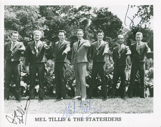 MEL TILLIS - AUTOGRAPHED SIGNED PHOTOGRAPH CO-SIGNED BY: THE STATESIDERS , THE STATESIDERS (JIMMY WILLIAMS), THE STATESIDERS (TERRY BETHEL)