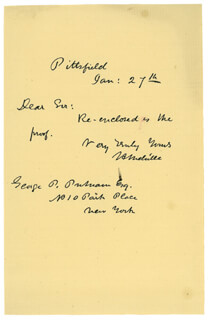 HERMAN MELVILLE - AUTOGRAPH LETTER SIGNED 01/27