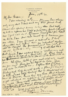 CLARENCE DARROW - AUTOGRAPH LETTER SIGNED 01/15/1933