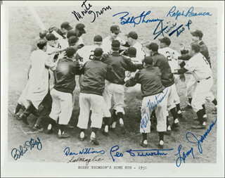 BOBBY THOMSON - AUTOGRAPHED SIGNED PHOTOGRAPH CO-SIGNED BY: EDDIE THE BRAT STANKY, SAL THE BARBER MAGLIE, WES WESTRUM, LARRY JANSEN, RALPH HAWK BRANCA, LEO DUROCHER, WILLIE SAY HEY KID MAYS, MONTE IRVIN, DAN WILLIAMS