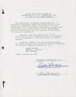 ROBERT MITCHUM - DOCUMENT SIGNED 01/15/1974