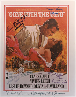 GONE WITH THE WIND MOVIE CAST - AUTOGRAPHED SIGNED PHOTOGRAPH CO-SIGNED BY: WILLIAM BAKEWELL, CAMMIE KING, OLIVIA DE HAVILLAND, RAND BROOKS, ANN RUTHERFORD, BUTTERFLY McQUEEN