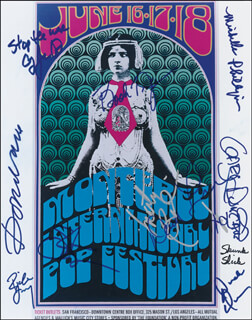 MONTEREY POP FESTIVAL - AUTOGRAPHED SIGNED PHOTOGRAPH CO-SIGNED BY: JEFFERSON AIRPLANE (MARTY BALIN), MICHELLE G. PHILLIPS, DONOVAN, JEFFERSON AIRPLANE (GRACE SLICK), BOOKER T. JONES, STEVE CROPPER, DUCK (DONALD) DUNN, JEFFERSON AIRPLANE (DAVID FREIBERG), GARY DUNCAN, RICHIE FURAY, COUNTRY JOE & THE FISH (JOE McDONALD) - HFSID 280170