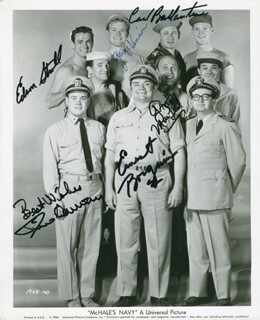 McHALE'S NAVY TV CAST - AUTOGRAPHED SIGNED PHOTOGRAPH CO-SIGNED BY: TIM CONWAY, ERNEST BORGNINE, CARL BALLANTINE, GAVIN MacLEOD, EDSON STROLL, GARY VINSON