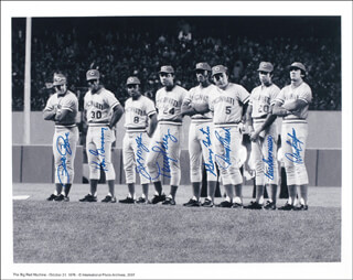 CINCINNATI REDS - AUTOGRAPHED SIGNED PHOTOGRAPH CO-SIGNED BY: JOHNNY BENCH, KEN GRIFFEY SR., GEORGE FOSTER, DAVE CONCEPCION, CESAR GERONIMO, JOE LITTLE JOE MORGAN, TONY PEREZ, PETE ROSE