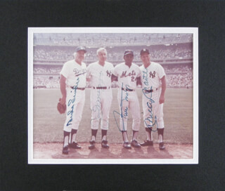 JOE DIMAGGIO - AUTOGRAPHED SIGNED PHOTOGRAPH CO-SIGNED BY: MICKEY MANTLE, WILLIE SAY HEY KID MAYS, DUKE SNIDER