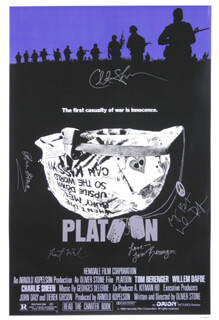 Autographs: PLATOON MOVIE CAST - POSTER SIGNED CO-SIGNED BY: CHARLIE SHEEN, WILLEM DAFOE, OLIVER STONE, TOM BERENGER, FOREST WHITAKER