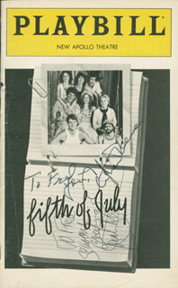 FIFTH OF JULY PLAY CAST - INSCRIBED SHOW BILL SIGNED CO-SIGNED BY: CHRISTOPHER REEVE, JONATHAN HOGAN