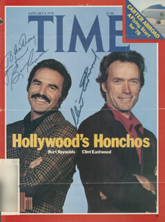 CLINT EASTWOOD - INSCRIBED MAGAZINE COVER SIGNED CO-SIGNED BY: BURT REYNOLDS
