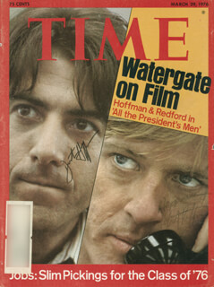 ALL THE PRESIDENT'S MEN MOVIE CAST - MAGAZINE COVER SIGNED CO-SIGNED BY: DUSTIN HOFFMAN, ROBERT REDFORD